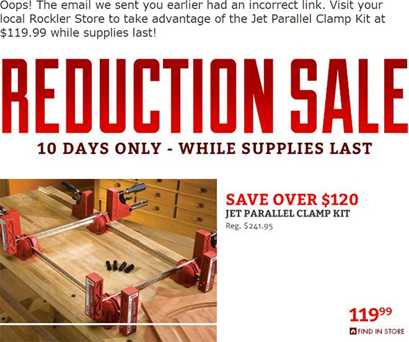 Rockler Jet Parallel Clamp In-Store-Only Deal