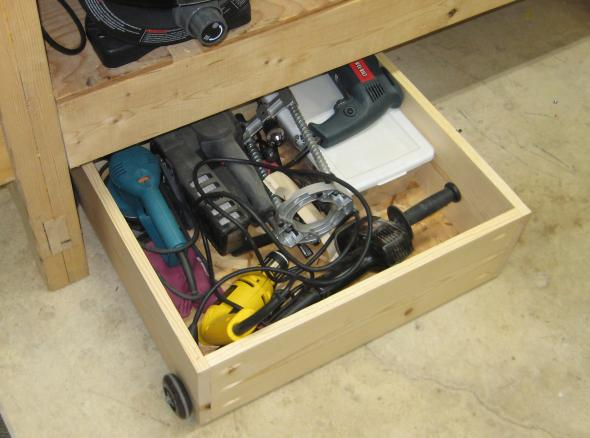 Finished under workbench rolling bin