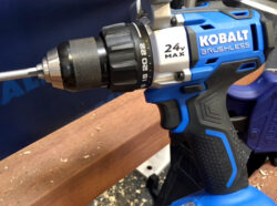 'New Kobalt 24V Max Brushless Power Tool Lineup!' from the web at 'http://toolguyd.com/blog/wp-content/uploads/2016/03/Kobalt-24V-Max-Brushless-Drill-Driver-Action-250x186.jpg'