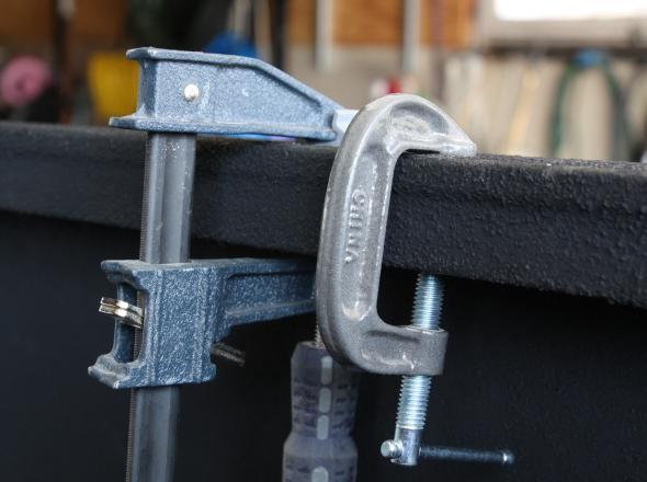 C-Clamp and F-Clamp on bed rail