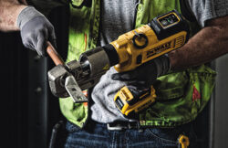 'New Dewalt Trades-Focused Tools: Electrical (Cable Cutter, Crimpers), Plumbing (Press Tool), Mechanical (Threaded Rod Cutter)' from the web at 'http://toolguyd.com/blog/wp-content/uploads/2016/04/Dewalt-DCE300-U-Type-Cordless-Crimper-Application-250x162.jpg'