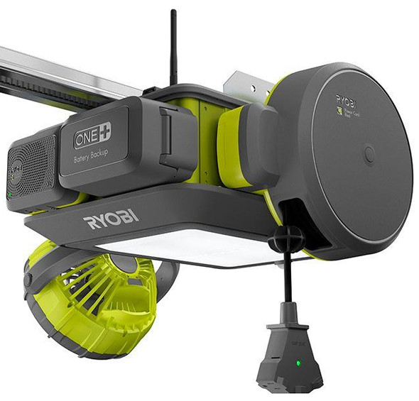 Ryobi Garage Door Opener with Fan Extension Cord Reel and Radio  sc 1 st  ToolGuyd & New Ryobi Garage Door Opener and Modular Accessory System