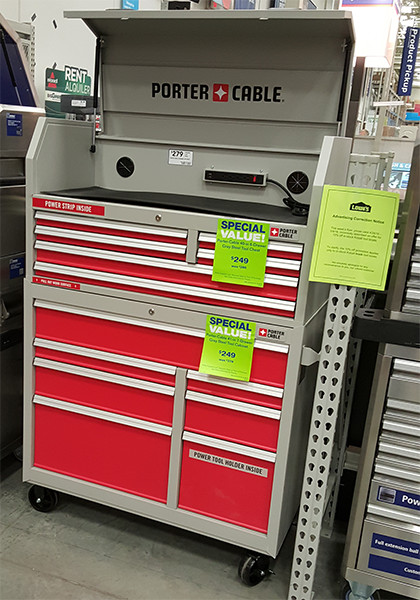 Porter Cable Tool Cabinet Open Display
