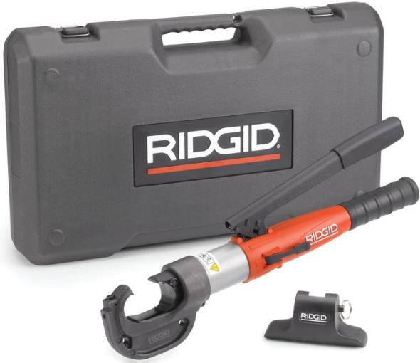 Ridgid manual hydraulic crimp tool with case and head stand