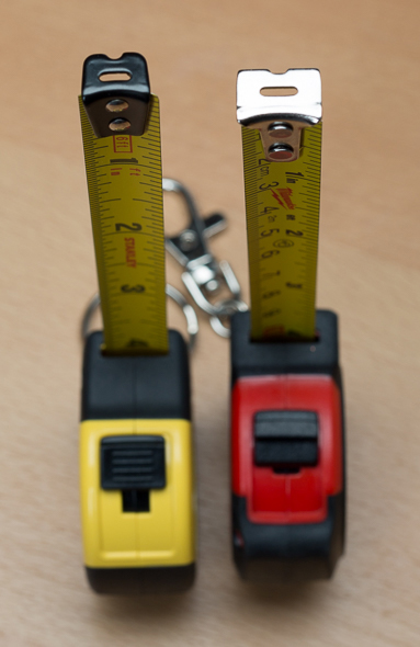 Stanley vs Milwaukee Keychain Tape Measure Hooks Vertical