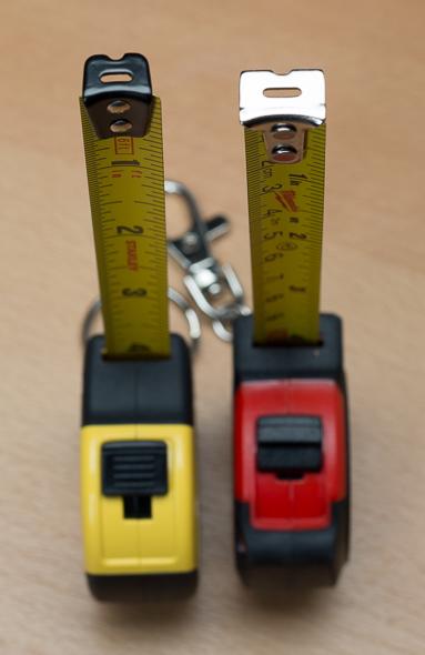 Stanley vs Milwaukee Keychain Tape Measure Hooks Vertical