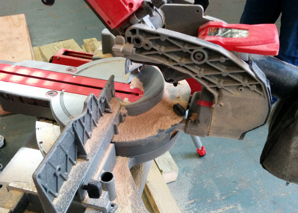 M18 Fuel Miter saw with the rails fully pushed into the saw