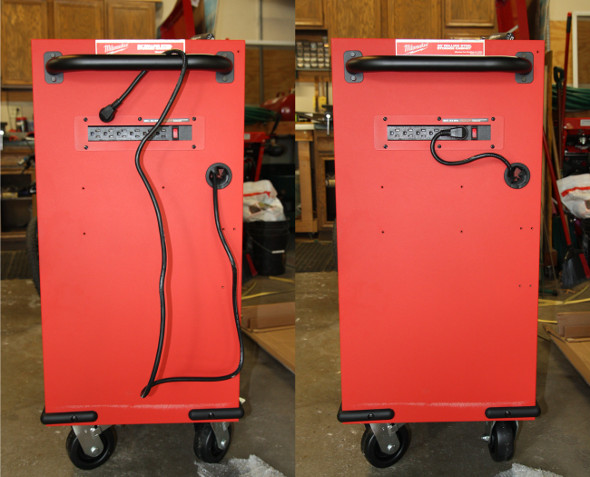 Milwaukee 30 inch rolling cabinet side view with cord and handle