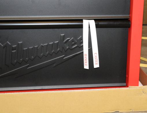 Milwaukee 30 inch rolling cabinet tags marking hardware location