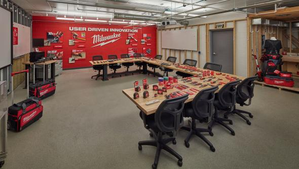 Milwaukee conference room with hand tool lines