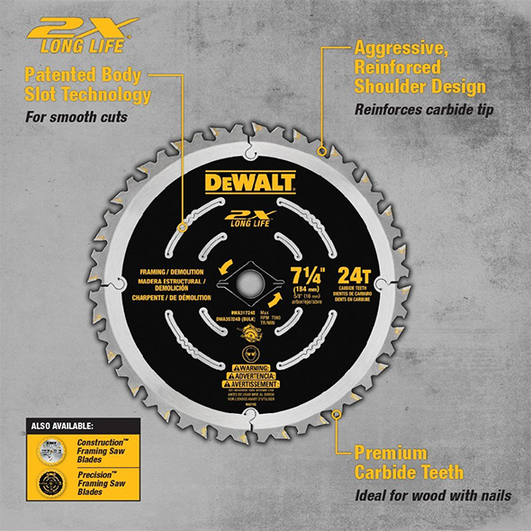 Dewalt DWA31724D Demolition Saw Blade Features Diagram