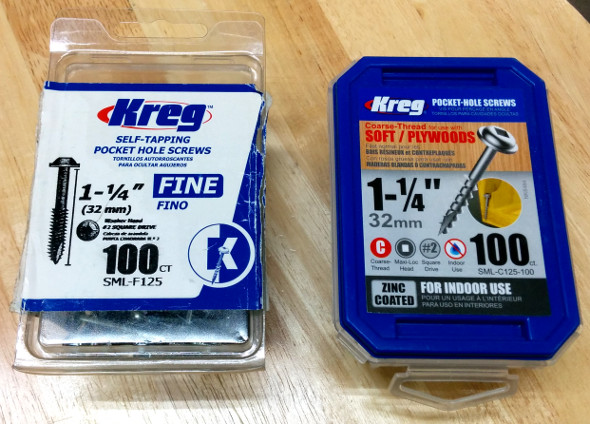 Old and new Kreg screw packages