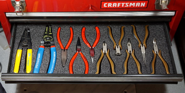 Finished pliers drawer Kaizen foam insert