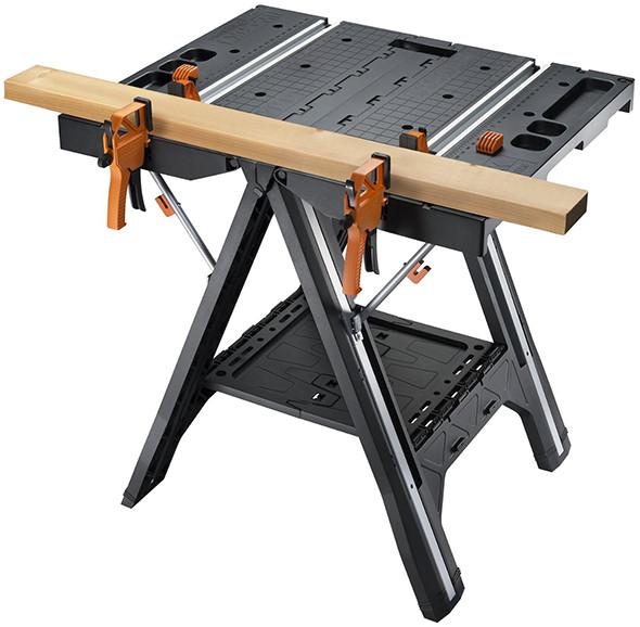 Worx Pegasus Folding Workbench Securing 2x4