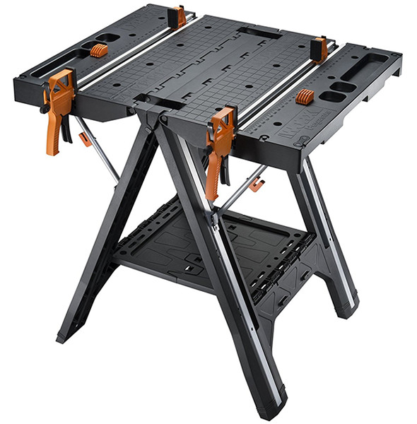 Worx Pegasus Folding Work Table Has Clamps And A Sawhorse Mode