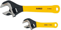 'Dewalt Adjustable Wrench 2-Pack' from the web at 'http://toolguyd.com/blog/wp-content/uploads/2016/10/Dewalt-Adjustable-Wrench-Set-DWHT75497-with-Dipped-Grips-250x124.jpg'
