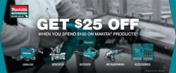 Makita $25 off $100+ Holiday 2017 Discount is Live