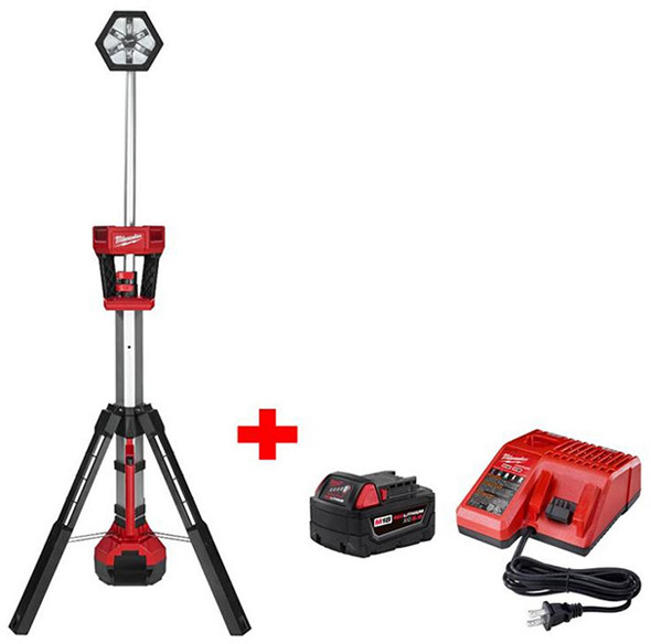 milwaukee-m18-rocket-led-tripod-light-with-5ah-battery-and-charger
