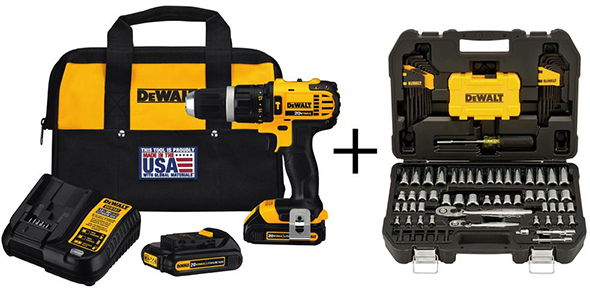 Dewalt 20V Max Hammer Drill Plus 18pc Mechanics Tool Set Combo