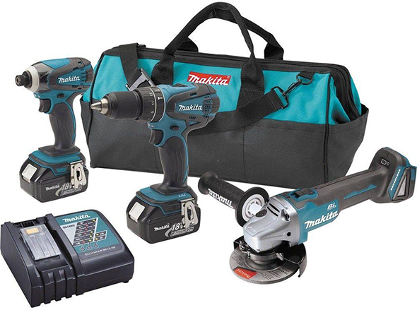 Makita XT324 18V Drill Impact Driver and Brushless Angle Grinder kit