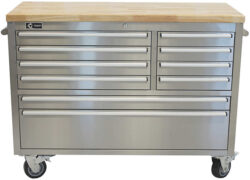 Trinity 48″ Stainless Steel Rolling Workbench at Costco