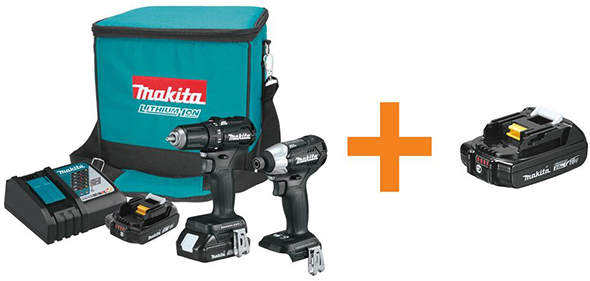 Makita CX200RB 18V Brushless Compact Drill and Impact Driver Combo with Free 2Ah Battery