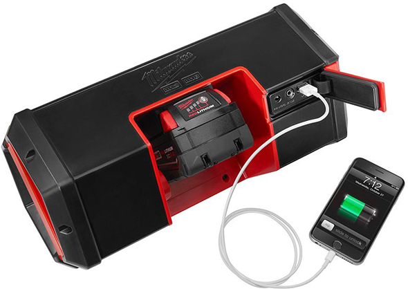 Milwaukee 2891-20 Jobsite Bluetooth Speaker Battery Compartment and Ports