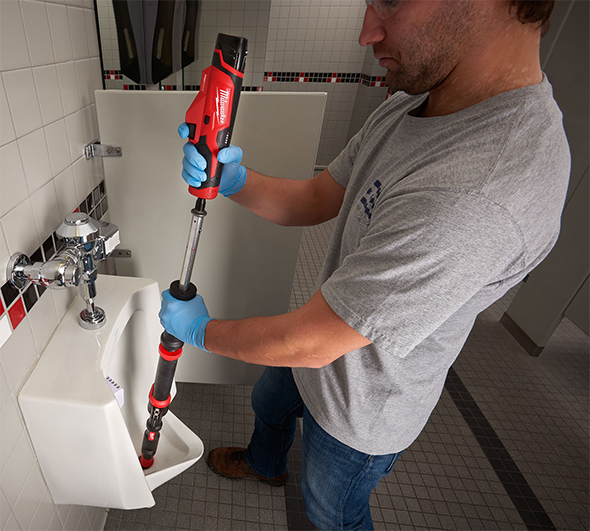 Milwaukee M12 TrapSnake Urinal Action Shot