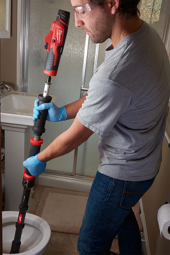 Milwaukee M12 TrapSnake Used on Toilet