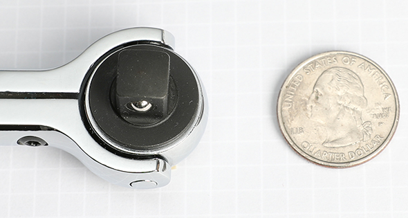 Milwaukee Swivel Ratchet Size Comparison with US Quarter