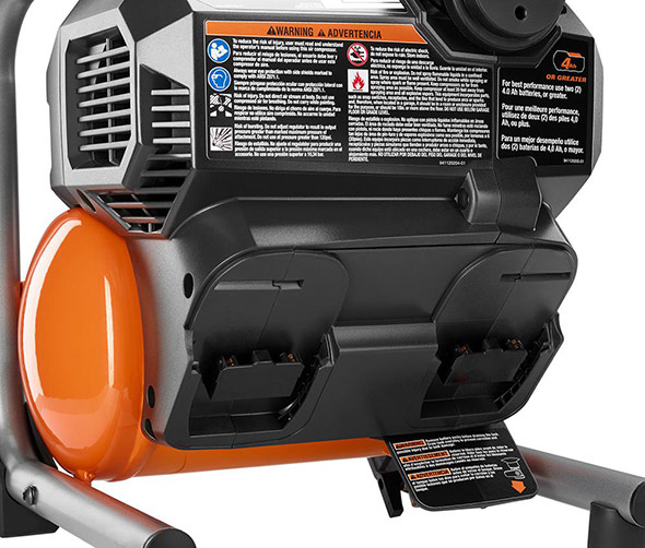 Ridgid 18V cordless 1 gallon compressor battery slots