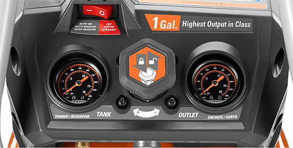 Ridgid 18V cordless 1 gallon compressor panel close up