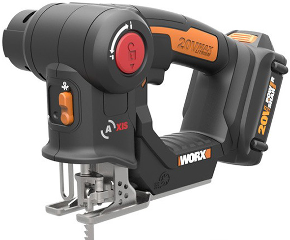Worx axis in jigsaw mode tilted so you can see the motor