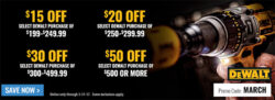 Dewalt Coupons at Acme Tool, March 2017