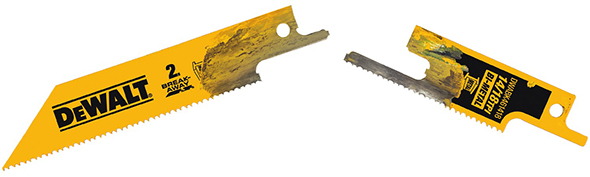 New dewalt break away 2 in 1 reciprocating saw blades dewalt dwabk461418 break away reciprocating saw blade fully separated greentooth