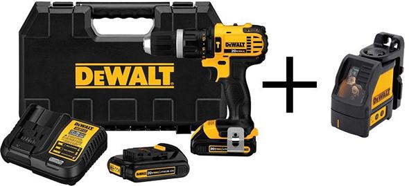 Dewalt Hammer Drill Kit with Bonus Self Leveling Cross Line Laser