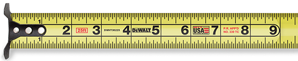 Dewalt XP Tape Measure First 9 Inches Extended