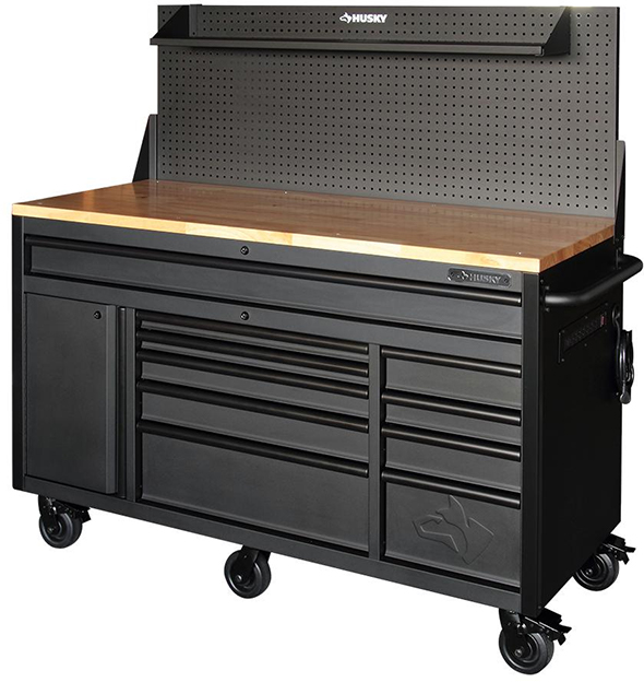 Husky 60 Inch Mobile Workbench with Pegboard Backwall