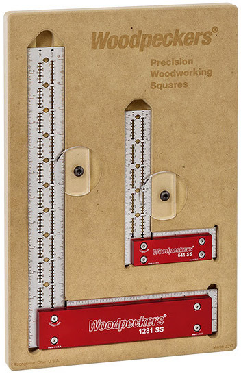 Woodpeckers 1281 and 641 Stainless Steel Squares in a case