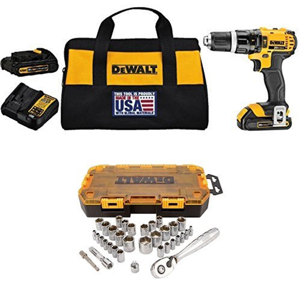 Dewalt DCD785C2 Cordless Hammer Drill kit with DWMT73804 Socket Set