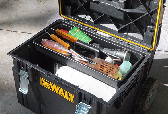 Dewalt DS450 Tough System Wheeled Tool Box filled with camp supplies