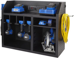 'Kobalt Charging Station and Tool Storage Wall Cabinet' from the web at 'http://toolguyd.com/blog/wp-content/uploads/2017/05/Kobalt-Charging-Station-with-French-Cleat-Mount-with-Tools-250x197.jpg'