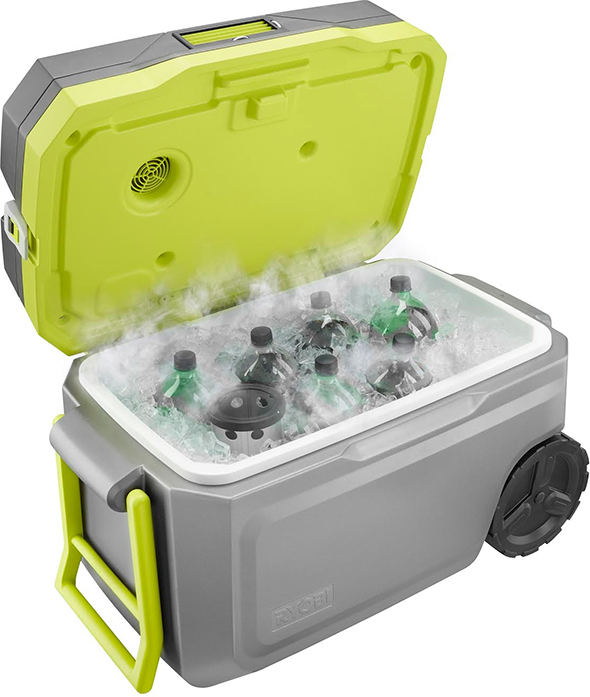 Ryobi Air Conditioned Cooler with 2L Soda Bottles