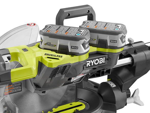 Ryobi P3650B 36V Dual Bevel Sliding Miter Saw battery closeup