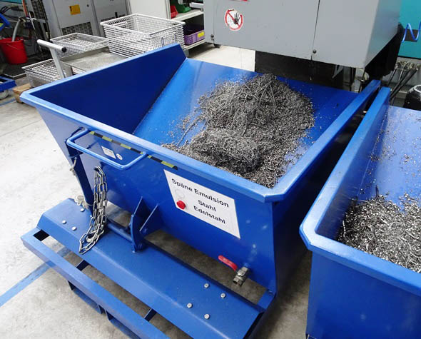 Chips and Shavings from CNC Machines at Metabo Factory