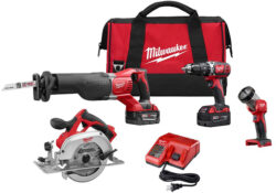 'Which is the Best Cordless Power Tool Brand?' from the web at 'http://toolguyd.com/blog/wp-content/uploads/2017/06/Milwaukee-2694-24-M18-5-Tool-Cordless-Combo-Kit-250x175.jpg'