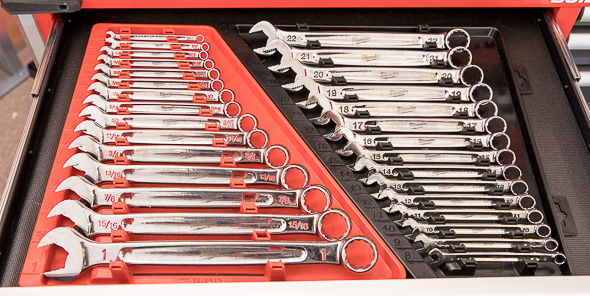 Milwaukee Combination Wrench Sets in Tool Box Drawer
