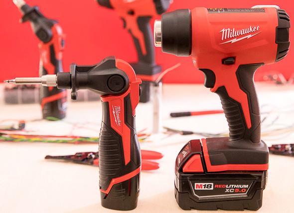 Milwaukee M12 Cordless Soldering Iron And M18 Heat Gun Standing Up