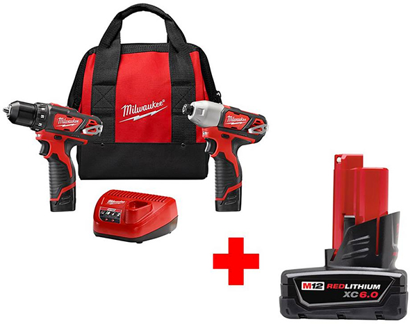 Milwaukee M12 Drill and Impact Driver Kit with Bonus 6Ah Battery