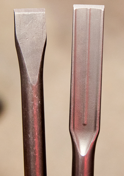 Milwaukee Masonry Chisel Next to New Self-Sharpening Chisel